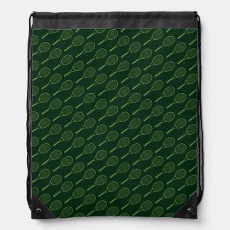 green tennis pattern-design drawstring bag