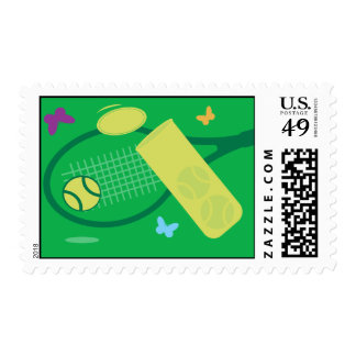 Green Tennis Stamp with tennis balls and racket