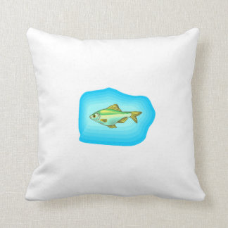 Green Tetra Fish Throw Pillows