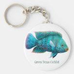 Green Texas Cichlid Fish Keychain