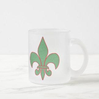 Green Textured Fleur de Lis Frosted Glass Coffee Mug
