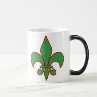 Green Textured Fleur de Lis Magic Mug