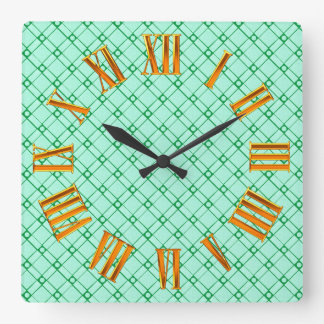 Green Textured Square, Oblong and Circle Pattern Square Wall Clock