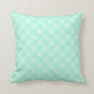 Green Textured Square, Oblong and Circle Pattern Throw Pillow