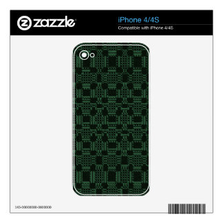 Green textured squares pattern decal for iPhone 4