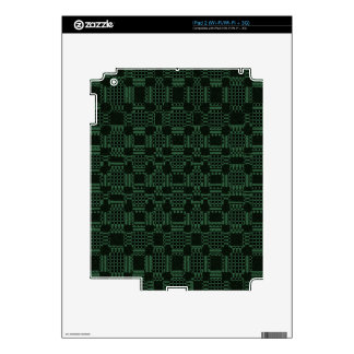 Green textured squares pattern skin for iPad 2