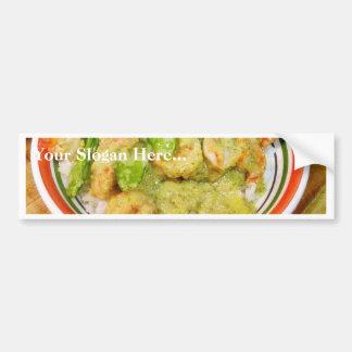 Green Thai Chili Cooking Food Shrimp Car Bumper Sticker