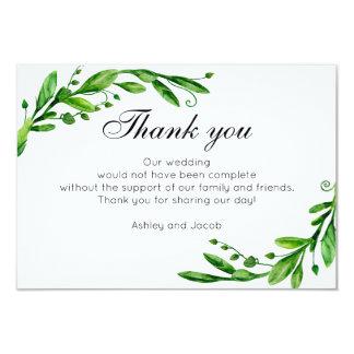 Green thank you. Botanical summer wedding note Card