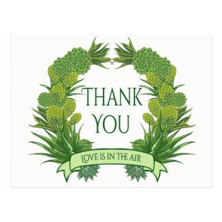 Green Thank You Succulent Cactus Southwest Wedding Postcard