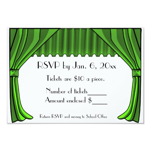 Green Theater Curtains RSVP Card