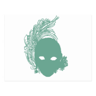 Green Theatrical Mask Postcard