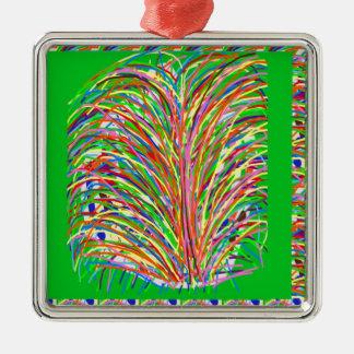GREEN Theme  Artistic Grass Bush Colorful Spectrum Christmas Tree Ornament