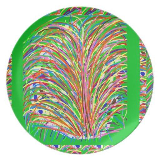 GREEN Theme  Artistic Grass Bush Colorful Spectrum Plates