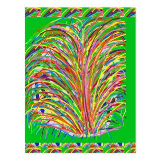 GREEN Theme  Artistic Grass Bush Colorful Spectrum Post Card