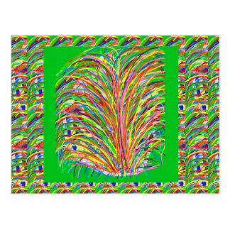 GREEN Theme  Artistic Grass Bush Colorful Spectrum Postcards