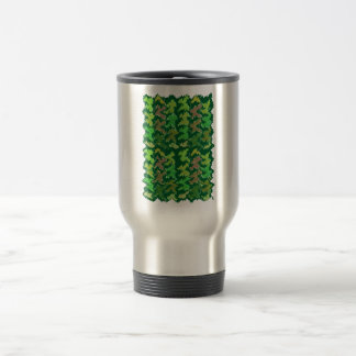 Green Theme : Military Camouflage Wave Pattern 15 Oz Stainless Steel Travel Mug