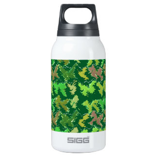 Green Theme : Military Camouflage Wave Pattern Insulated Water Bottle