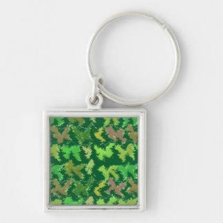 Green Theme : Military Camouflage Wave Pattern Key Chain