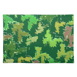 Green Theme : Military Camouflage Wave Pattern Placemat