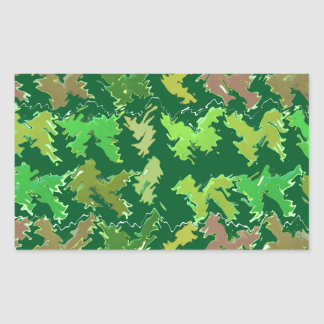 Green Theme : Military Camouflage Wave Pattern Rectangular Sticker