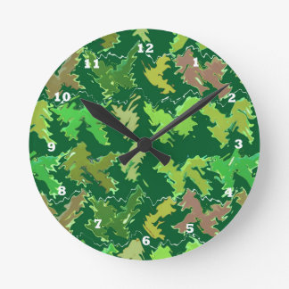 Green Theme : Military Camouflage Wave Pattern Round Clock