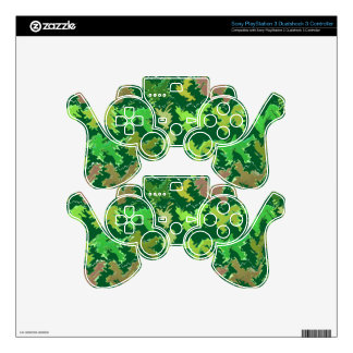 Green Theme : Military Camouflage Wave Pattern Skins For PS3 Controllers