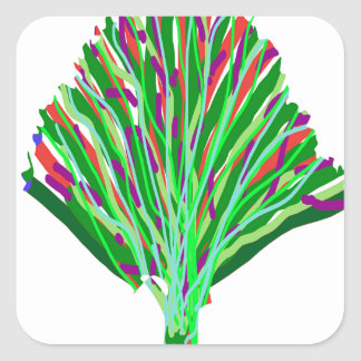 GREEN theme TREE artistic symbol environment cause Square Stickers