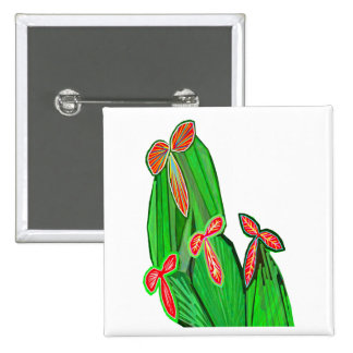 Green Theme Water Colors - CACTUS Cacti 2 Inch Square Button