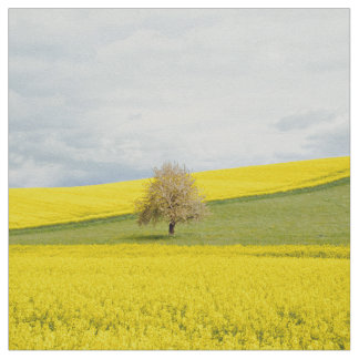 Green Themed, A Field Covered Wiith Yellow Flowers Fabric