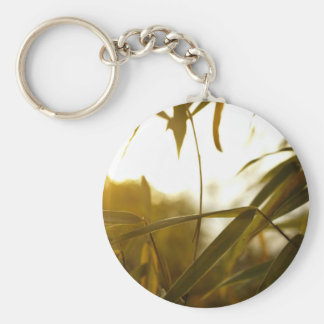 Green Themed, Long And Green Leaves Of A Bamboo Tr Keychain