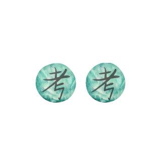 Green Think Inspirational Asian Script Watercolor Earrings