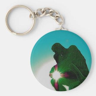 Green Thinker by jammer Basic Round Button Keychain