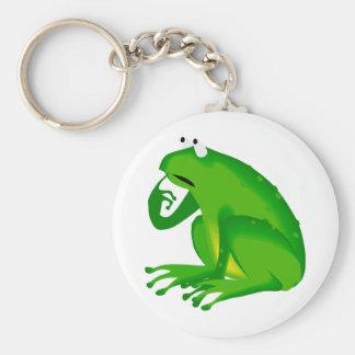 Green thinking frog keychain