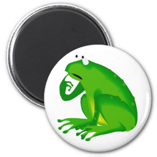 Green thinking frog magnet