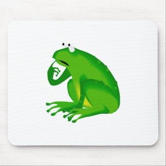 Green thinking frog mouse pad