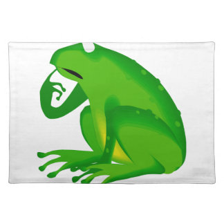 Green thinking frog placemat