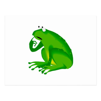 Green thinking frog postcard