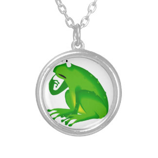 Green thinking frog silver plated necklace