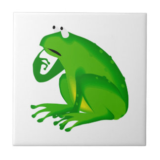 Green thinking frog tile