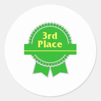 Green Third Place Ribbon Classic Round Sticker