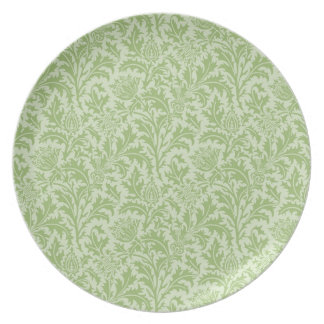 Green Thistle Pattern Party Plates