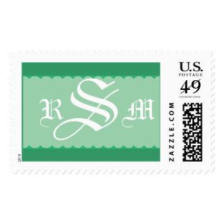 Green Three Letter Monogram Postage Stamp