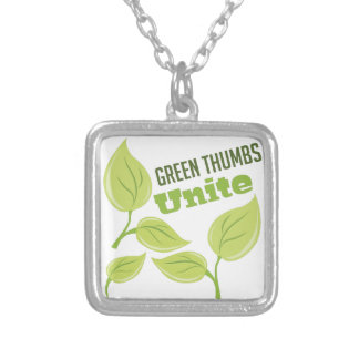Green Thumbs Square Pendant Necklace