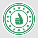Green thumbs up seal stickers