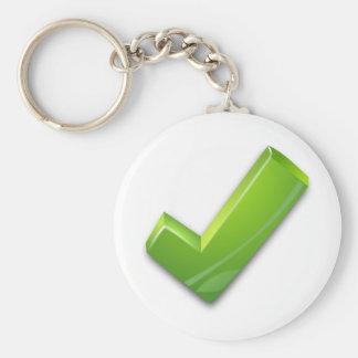 Green-Tick Basic Round Button Keychain