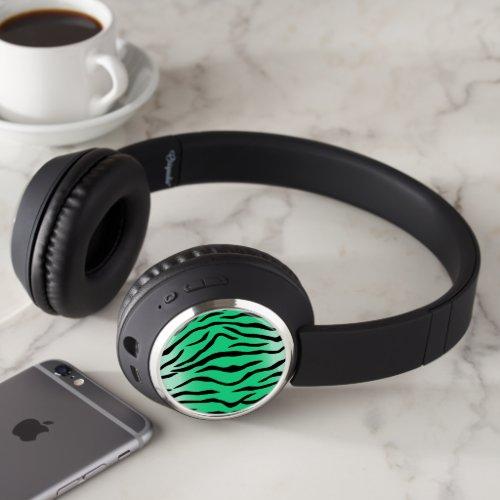 green tiger print headphones