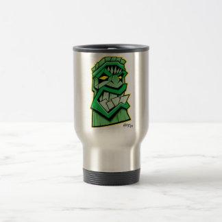 green tiki mask travel mug