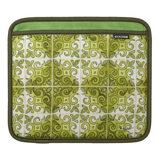 Green Tile Design 2 - Swirls iPad Sleeves