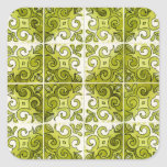 Green Tile Design 2 - Swirls Square Sticker