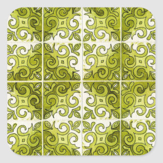 Green Tile Design 2 - Swirls Square Sticker